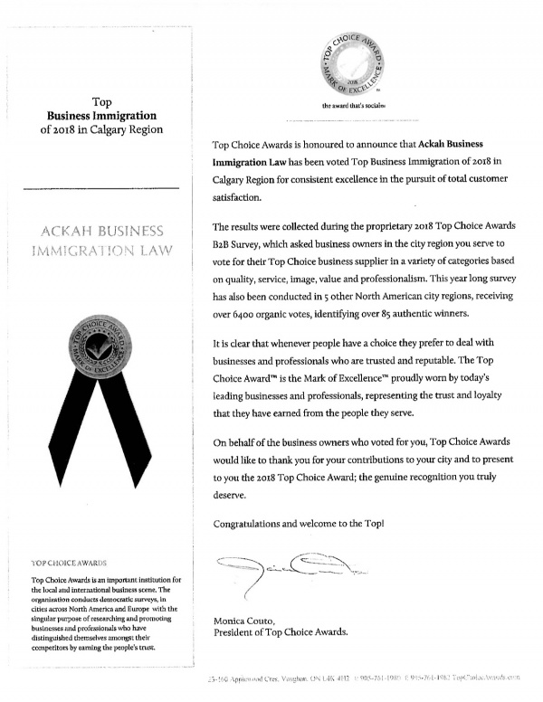 Ackah Law Top Choice Awards Letter