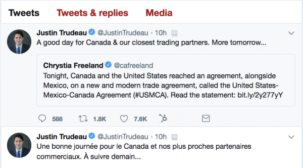Trudeau on NAFTA deal
