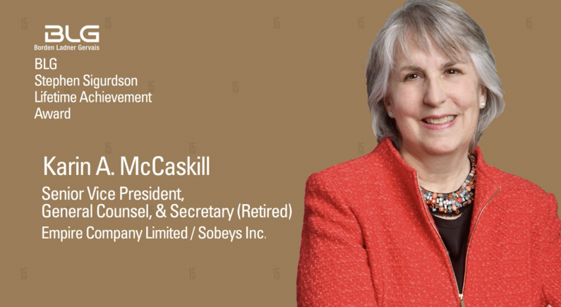Karin McCaskill: Lifetime Achievement Recipient from Canadian General Counsel Awards