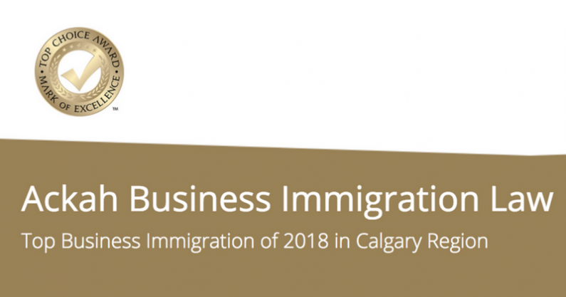 Ackah Business Immigration Law Voted 2018 Top Immigration Law Firm in Calgary